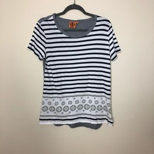 Tory Burch Striped Logo Tee